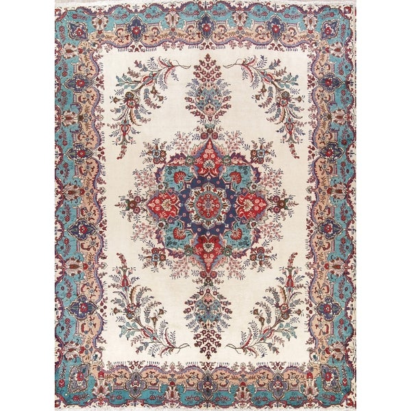 100 Wool Persian Area Rug: Shop Hand Knotted Wool Floral Medallion Ivory Tabriz