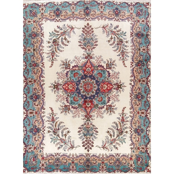 Hand Knotted Persian Tabriz Wool Area Rug Ebth: Shop Hand Knotted Wool Floral Medallion Ivory Tabriz