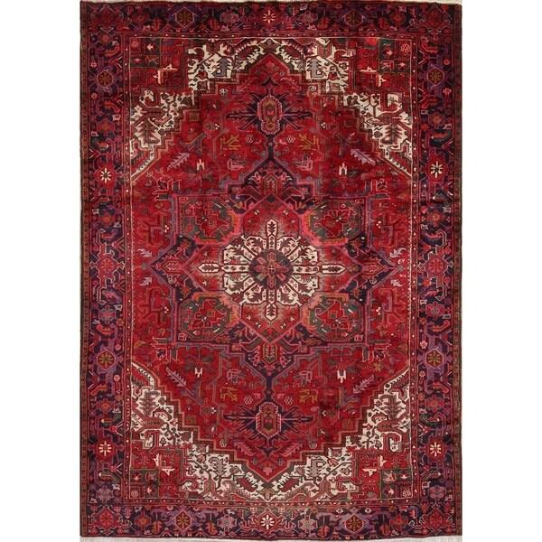 "Hand Made Vintage Oriental Heriz Serapi Persian Wool Area Rug - 11'1"" x 8'2"""