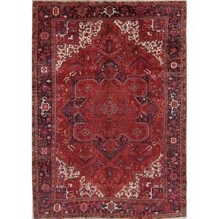 """Handmade Vintage Oriental Red Heriz Persian Wool Area Rug - 13'3"""" x 9'9"""""""