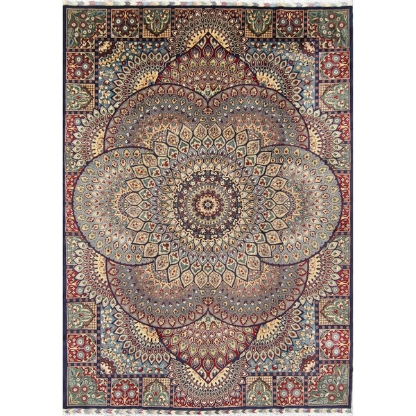 Shop Hand Knotted Wool Geometric Mashad Persian Living