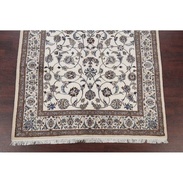 Hand Knotted Wool And Silk Scroll Ivory Nain Persian Carpet Area Rug 9 9 X 6 3 On Sale Overstock 24112991