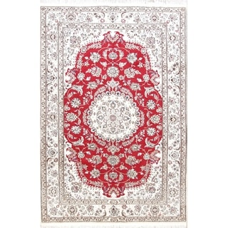 "Handmade Wool / Silk Medallion Red Floral Nain Persian Carpet Area Rug - 9'10"" x 6'5"""