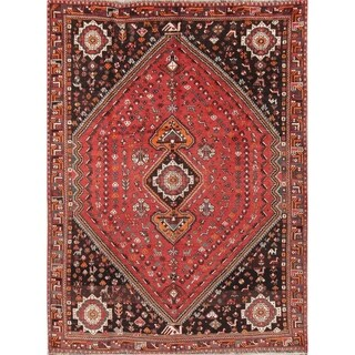 "Handmade Wool Geometric Tribal Nomad Shiraz Qashqai Persian Area Rug - 9'9"" x 7'0"""