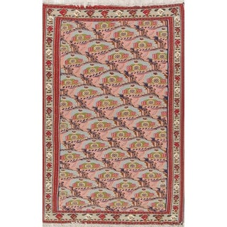"Hand Woven Woolen Oriental Senneh Kilim Persian Carpet Area Rug - 9'8"" x 6'4"""
