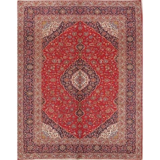 """Handmade Wool Persian Vintage Carpet Area Rug For Dining Room - 13'1"""" x 9'10"""""""