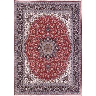 Handmade Acrylic/Wool Soft Plush Floral Medallion Persian Area Rug - 12' 10'' x 9' 8''