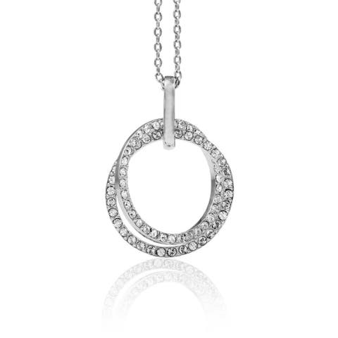 White Gold Plated Double Circle Pendant Necklace with Sparkling Clear Crystals by Matashi