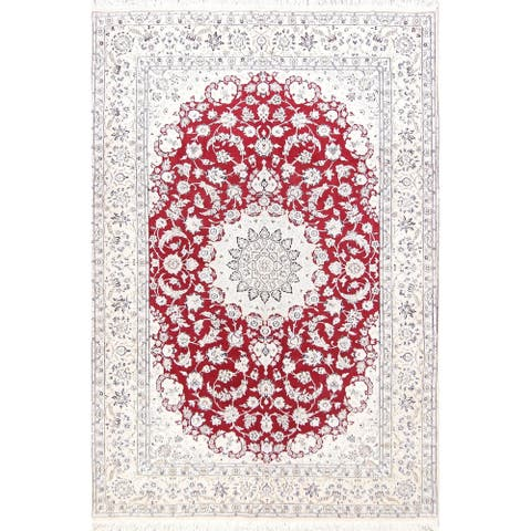 """Handmade Wool / Silk Floral Red Floral Nain Persian Medallion Area Rug - 9'11"""" x 6'8"""""""