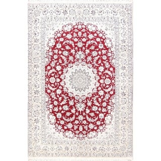 "Handmade Wool / Silk Floral Red Floral Nain Persian Medallion Area Rug - 9'11"" x 6'8"""
