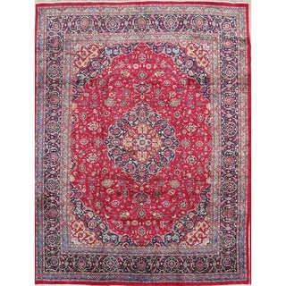 "Hand Knotted Wool Traditional Persian Floral Vintage Area Rug - 13'0"" x 9'10"""