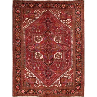 "Hand Knotted Geometric Heriz Persian Vintage Wool Carpet Area Rug - 11'2"" x 8'3"""