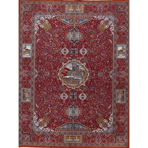 "Copper Grove Arden Soft Pile Acrylic Medallion Floral Persian Style Area Rug - 12'6"" x 9'8"""