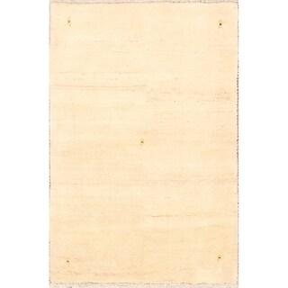 "Handmade Ivory Modern Gabbeh Shiraz Persian Wool Area Rug - 4'11"" x 3'3"""
