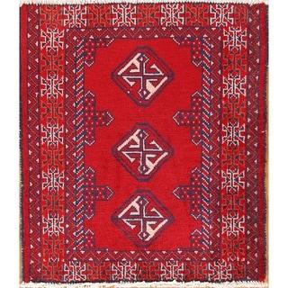 "Handmade Wool Oriental Turkoman Balouch Bokhara Persian Area Rug - 2'7"" x 2'3"""