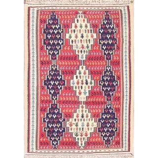 "Hand Woven Oriental Kilim Bidjar Senneh Persian Wool Area Rug - 4'10"" x 3'4"""