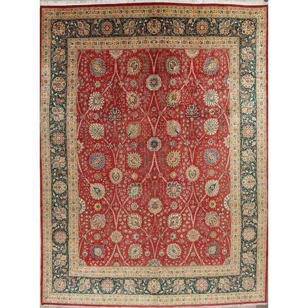Hand Knotted Persian Tabriz Wool Area Rug Ebth: Shop Hand Knotted Wool Floral Tabriz Persian Vintage