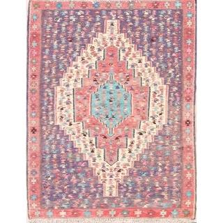 "Hand Woven Geometric Tribal Kilim Senneh Persian Vintage Wool Area Rug - 4'11"" x 3'11"""