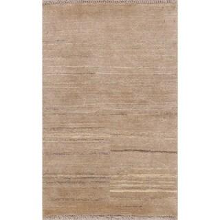 "Handmade Wool Solid Natural Dye Gabbeh Zollanvari Persian Area Rug - 3'11"" x 2'8"""