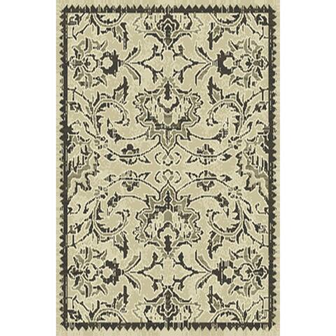 "Floral Belgian Oriental Area Rug Grey For Bedroom Wool - 1'9"" x 3'4"""