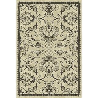 Floral Machine Made Belgian Oriental Area Rug Grey For Bedroom Wool - 1' 9'' x 3' 4''