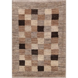 "Handmade Wool Checked Gabbeh Zolanvari Persian Carpet Area Rug - 3'10"" x 2'9"""