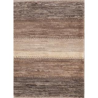 "Handmade Wool Striped Modern Gabbeh Zolanvari Shiraz Persian Area Rug - 3'9"" x 2'10"""