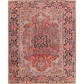 "Antique Handmade Wool Geometric Heriz Serapi Persian Carpet Area Rug - 11'9"" x 8'8"""