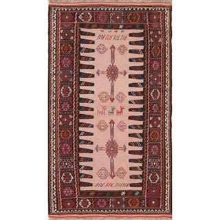 "Hand Woven Oriental Kilim Shiraz Persian Wool Area Rug - 5'10"" x 3'4"""