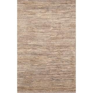 "Handmade Woolen Solid Gabbeh (Zolanvari) Shiraz Persian Area Rug - 3'11"" x 2'7"""