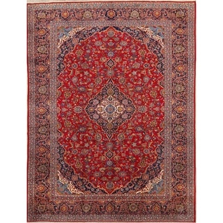 """Hand Knotted Traditional Floral Persian Red Wool Area Rug - 13'1"""" x 9'5"""""""