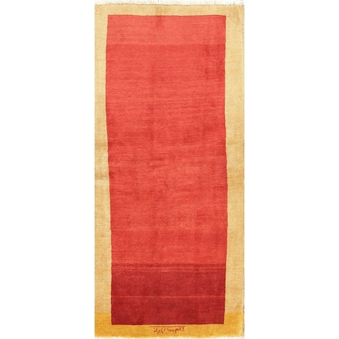 "Handmade Wool Contemporary Gabbeh Zolanvari Persian Solid Rug - 5'6"" x 2'6"" runner"