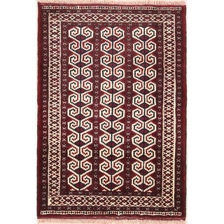 """Hand Knotted Oriental Wool Turkoman Bokhara Persian Bedroom Area Rug - 4'0"""" x 2'10"""""""