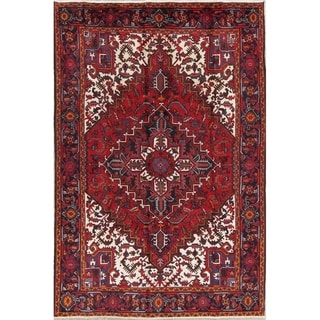 """Hand Knotted Geometric Heriz Persian Style Vintage Wool Area Rug - 9'11"""" x 6'7"""""""
