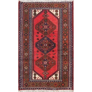 "Hand Knotted Woolen Geometric Tribal Hamedan Persian Vintage Area Rug - 4'7"" x 2'11"""