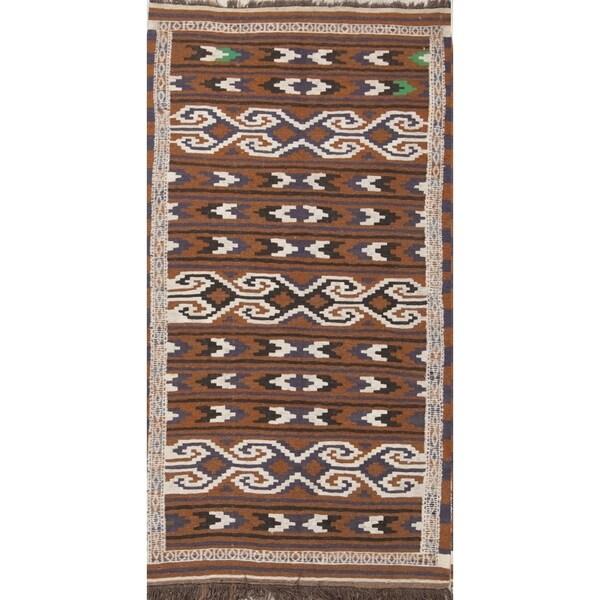 "Gracewood Hollow Orfalea Woven Blend Kilim Woven Woolen Geometric Kilim Balouch Rug - 5'10"" x 3'2"" runner"