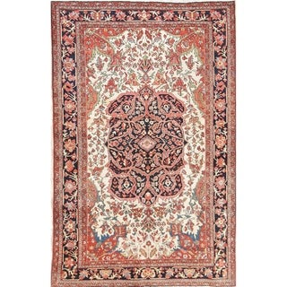 """Antique Hand Knotted Wool Floral Sarouk Farahan Persian Foyer Area Rug - 6'8"""" x 4'3"""""""