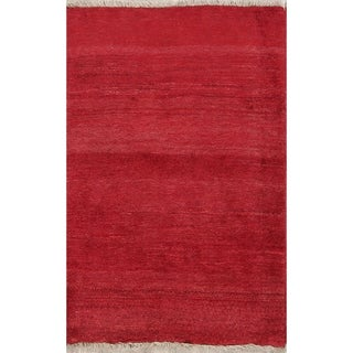 "Hand Knotted Woolen Solid Modern Gabbeh Shiraz Persian Carpet Area Rug - 4'8"" x 3'2"""