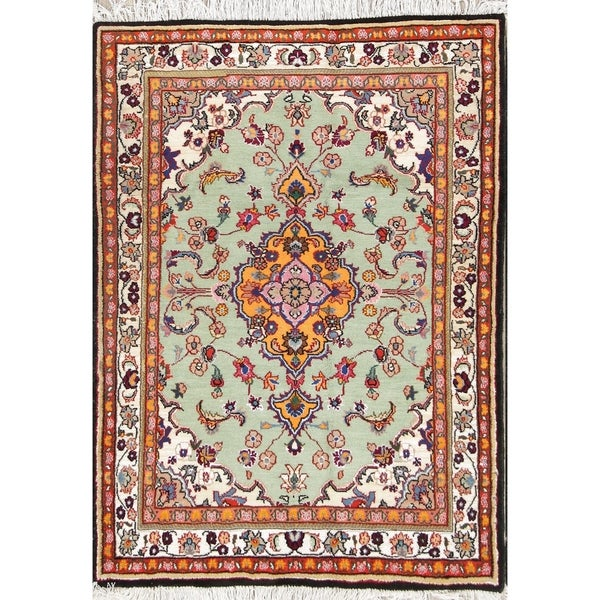 Hand Knotted Persian Tabriz Wool Area Rug Ebth: Shop Hand Knotted 100% Wool Floral Medallion Tabriz