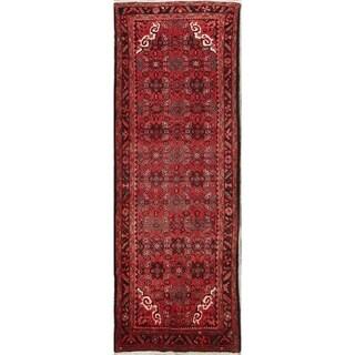 "Hand Made Wool Floral Hamedan Persian Vintage Rug Carpet - 10'8"" x 3'11"" runner"