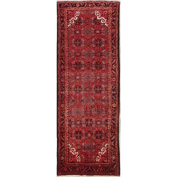 "Gracewood Hollow Varand Made Blend Hamedan Wool Floral Hamedan Persian Rug - 10'8"" x 3'11"" runner"
