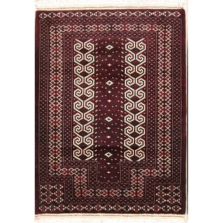 "Hand Knotted Oriental Turkoman Bokhara Persian Wool Area Rug - 4'3"" x 3'1"""