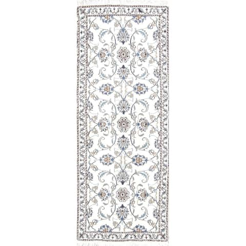 "Hand Knotted Wool Nain Persian Floral Rug For Hallway Carpet - 6'5"" x 2'6"" runner"
