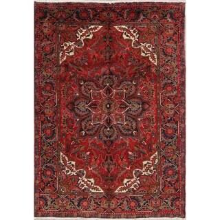 "Hand Knotted Geometric Heriz Persian Vintage Woolen Carpet Area Rug - 9'7"" x 6'9"""