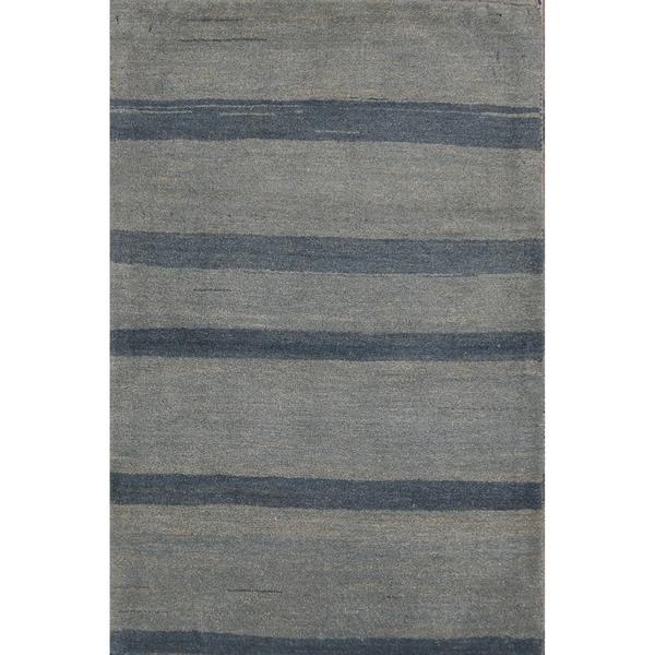 "Handmade Wool Stripped Gabbeh Zolanvari Shiraz Persian Area Rug - 4'0"" x 2'7"""
