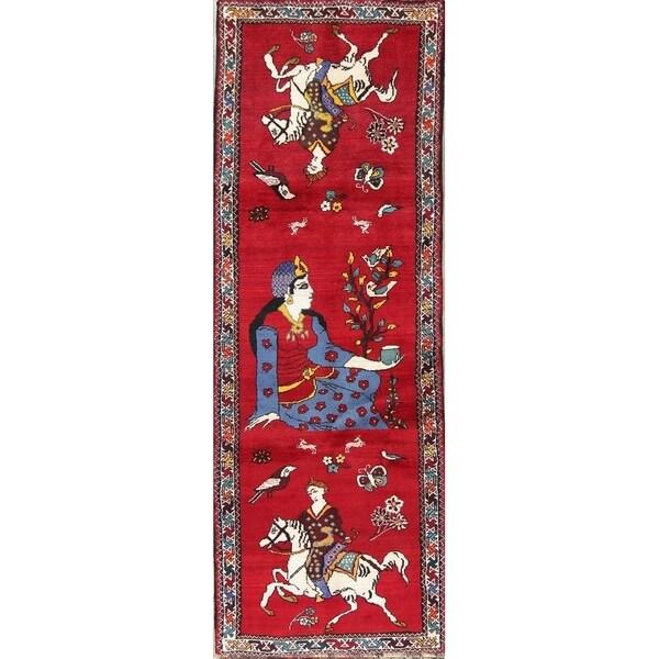 Gracewood Hollow Salaita Hunting Blend Shiraz Hunting Design Pictorial Shiraz Qashqai Rug - 10'3 Runner