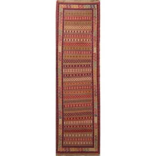 "Gracewood Hollow Mahari Knotted Blend Kilim Knotted Woolen Geometric Kilim Shiraz Rug - 9'3"" x 2'8"" runner"