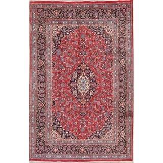 """Handmade Wool Floral Mashad Persian Vintage Carpet Area Rug - 9'11"""" x 6'6"""""""