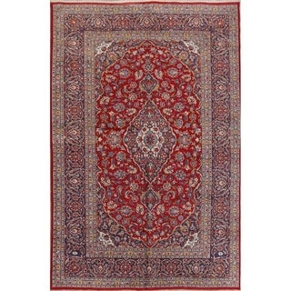 "Hand Knotted Wool Floral Traditional Persian Vintage Carpet Area Rug - 10'6"" x 7'0"""