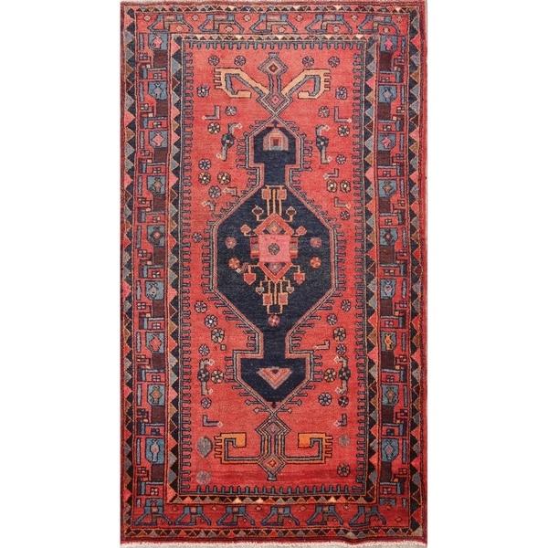 "Vintage Hand Knotted Wool Geometric Hamedan Persian Foyer Area Rug - 7'4"" x 4'3"""